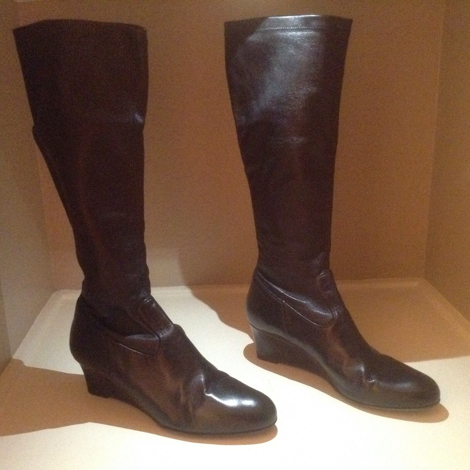 EUC BALLY Black Leather Wedge Knee Boots - Size 40.5