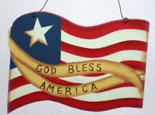 Country Wood Flag God Bless AMERICA Patriotic Americana