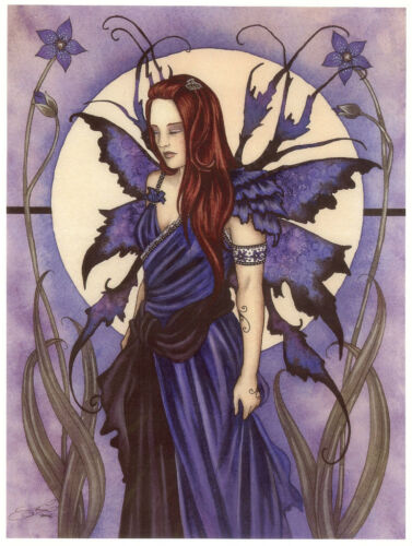 Amy Brown Print Fairy Solumn Violet Purple Faery Flower