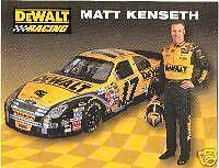 MATT KENSETH 2007 DEWALT RACING NEXTEL CUP POSTCARD
