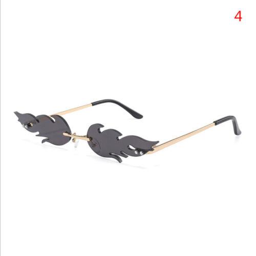 Fashion Women Men Rimless Wave Sunglasses  Fire Flame Eyewear Narrow SunglassLFI