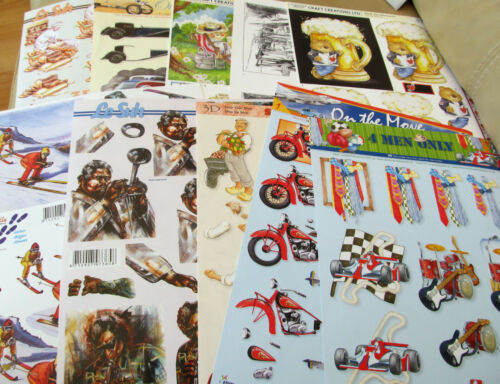Mixed Mens Themed Decoupage x 10 A4 Sheets
