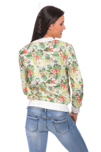 Womens Sweatshirt With Pockets Tracksuit Top Flower Pattern Sizes 8-14 FZ67