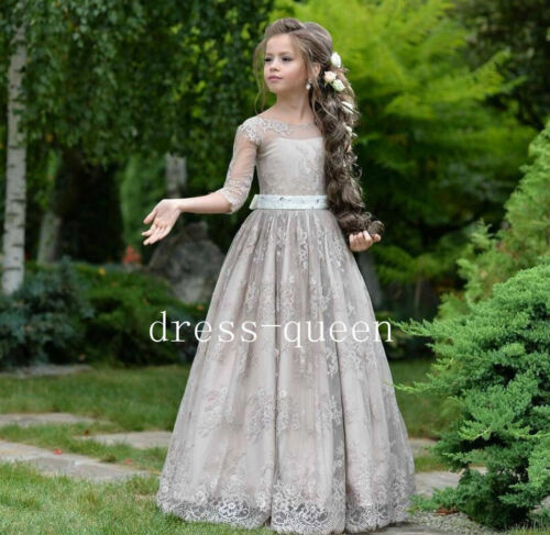 Grey Lace A-Line Flower Girl Dresses 3//4 Sleeves Long Toddler Teens Formal Dress