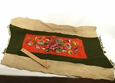 Needlepoint Embroidered Vintage Floral 1940s DIY for Pillow or Frame Handcraft