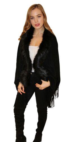 Black Faux Fur Trim Cardigan Wrap Shawl Stole Cape Outerwear *Fast Delivery