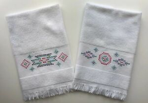 "Vintage Embroidered Cross Stitch White Hand Towels Aztec Design 24"" Set of 2"