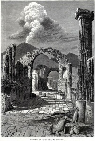 Logico Pompei: Strada Del Foro,con Vesuvio. Vesuvius. Stampa Antica + Passepartout.1878 Ulteriori Sorprese