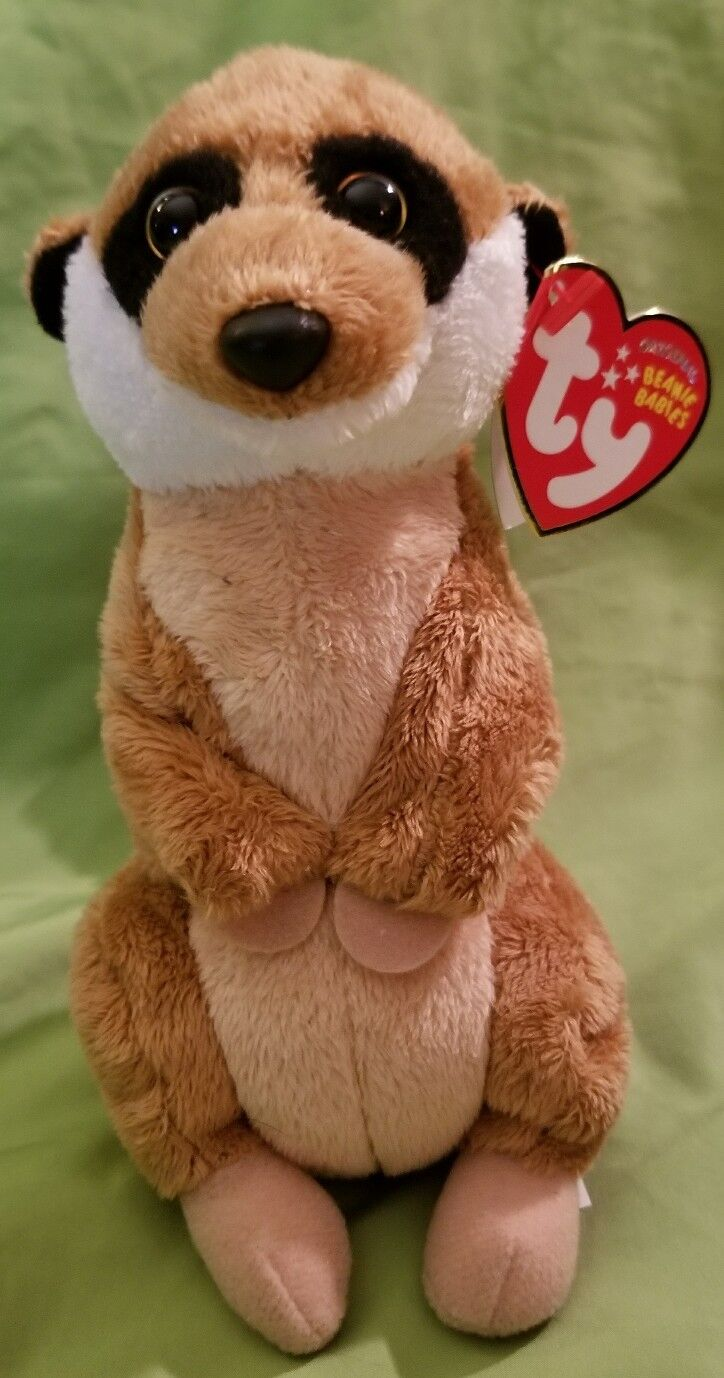 TY Beanie Babies Burrows Meerkat Approx 8  DOB  March 3, 2010 Plush Stuffed Toy