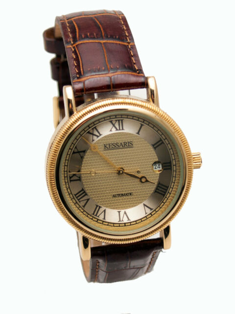 KESSARIS: AUTOMATIC SELF WINDING MECHANICAL STAINLESS STEEL CASE LEATHER WATCH