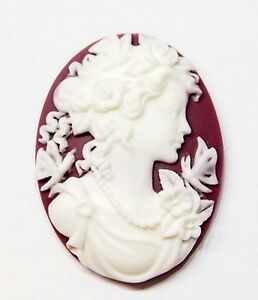 4-of-40x30-mm-White-over-Dark-Plum-Victorian-Deco-Graces-Butterfly-Woman-Cameos