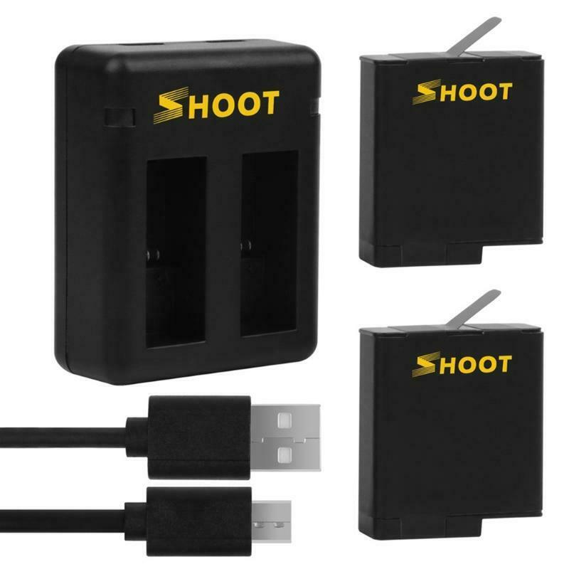 1220mAh Replacement Batteries and USB Fast Dual Charger for Hero5/6/7/8 Camera