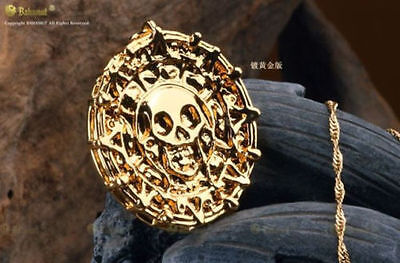 Hot Selling Pirates Of The Caribbean Cursed Aztec Coin Medallion Gold Necklace