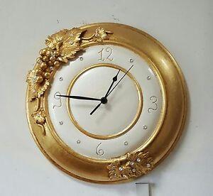 Orologio Da Muro Ceramica Avorio Foglia Oro Con Cristalli Swarovski Via Veneto Ebay