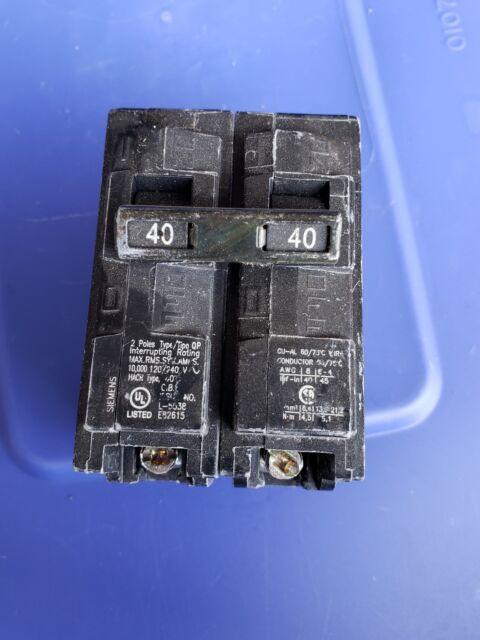 Siemens 2 pole type qp 40 amp breaker