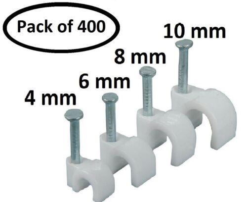 PARTH IMPEX Round Cable Wire Clips 4mm 6mm 8mm 10mm Cable Pack of 400
