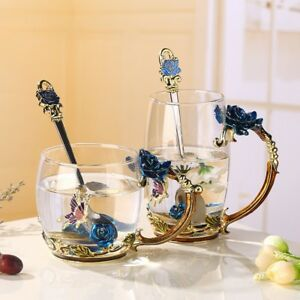 Handmade-Crystal-Enamel-Flower-Glass-Tea-Cup-Coffee-Mugs-W-Gift-Box-Home-Decor