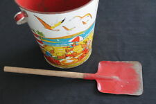 vintage Eagle Toys Ltd Montreal Canada tin sandpail red metal shovel