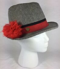 """Women Juicy Couture Grey Red Pom Pom Band Striped Fedora Hat 7.25"""""""