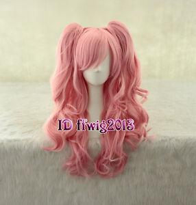 Fashion Anime Lolita Clip On Ponytail 60cm Long Pink Wavy Wig +a wig cap