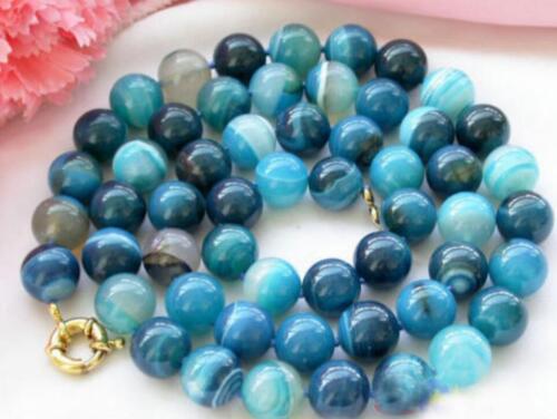 """Genuine 8 mm naturel 10 mm 12 mm bleu Grain Agate Round Gemstone Beads Necklace 18/"""""""