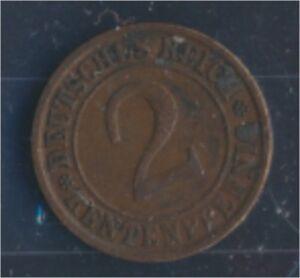 German Empire Jägerno 307 1923 J very fine 2 Rentenpfennig (7862409