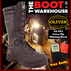 f32a30749a1 Details about Oliver 65691, AT's Steel Toe Safety Mining Work Boots.  Chemical Resistant NEW