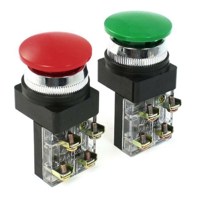 Red Green AC 250V 6A DPST Momentary Mushroom Head Push Button Switch CP