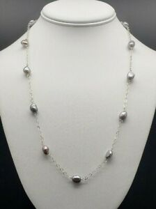 Genuine-Baroque-Pearl-Station-Necklace-Solid-Sterling-Silver-Beautiful-Pearls