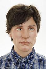 Dark Brown Brunette Short Human Hair Monofilament Hand Tied Straight Men Wig