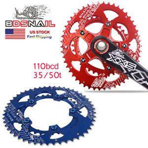 SNAIL-35-50T-MTB-Bike-Double-Oval-Chainring-Fit-SHIMANO-SRAM-110bcd-Crankset