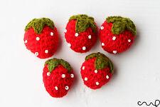 Handmade Set of 5 Crochet Strawberries Red White Beads DIY Craft Sewing Deco