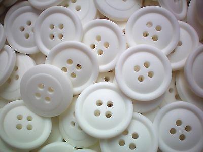 Large 20mm 32L White 4 Hole Satin Finish Quality Coat Jacket Buttons Z206