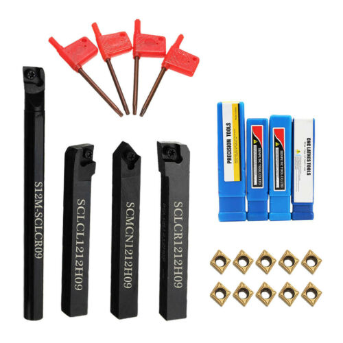 Metal 4Pcs Lathe Boring Turning Tool Bar Holder 10x Inserts w// Wrench