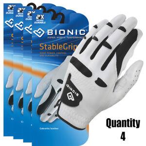 4-x-Bionic-Golf-Gloves-StableGrip-Mens-Left-Hand-White-Leather-27-95-ea