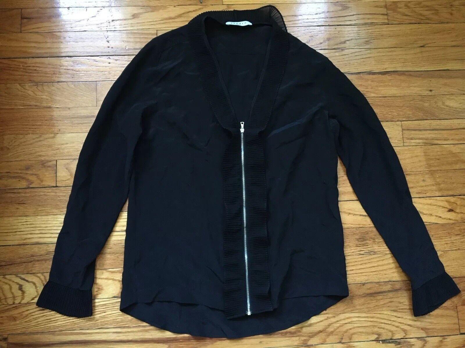 Sandro Ruffle Zip Front schwarz Long Sleeve Shirt  Sheer Blouse Größe 1