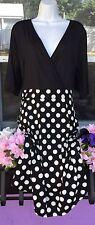 New Vintage Sexy Black White Polka Dot A Line Dress Size XL 16 / 18 Plus Retro