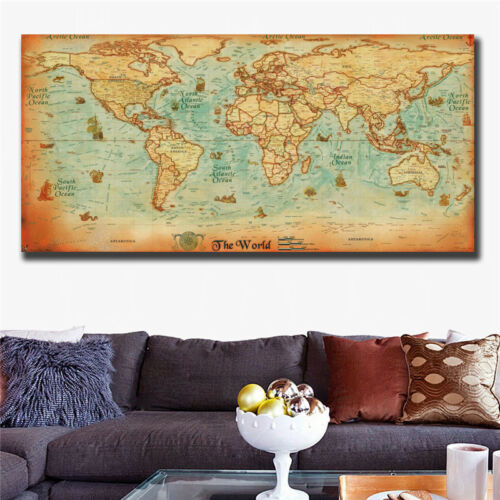 The old World Map large Vintage Style Retro Paper Poster Home decor 31x63