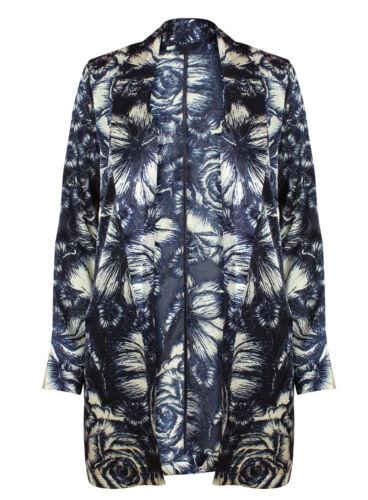 EX Atmosphere manica lunga BLU Stampa Floreale a cascata blazer taglia 6-20