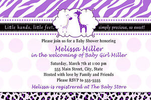 30 Giraffe Invitations Baby Girl Shower Purple Zebra Leopard