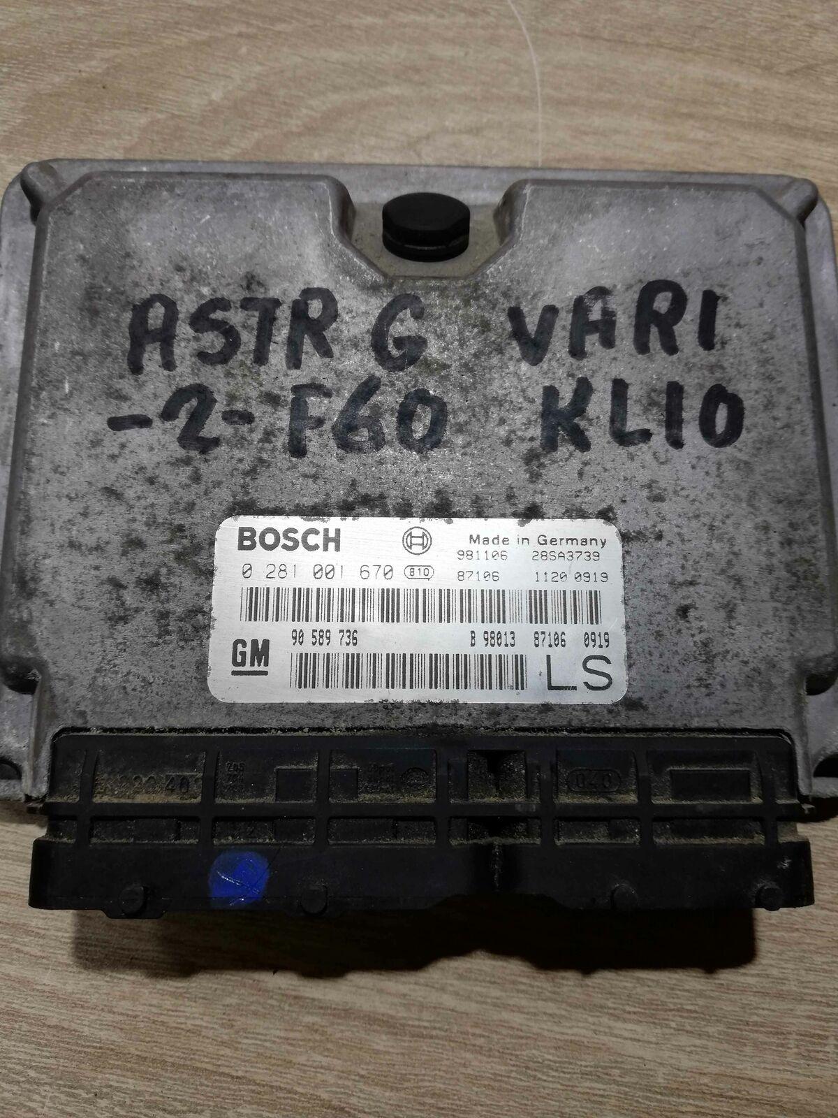Bosch 0281001670 engine ECU Vauxhall Astra MK4 DTI 1.7 X17DTL 68HP 90589736 LS