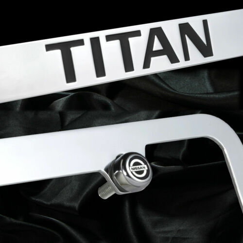 New chrome plated Nissan Titan pick up truck license plate frame front rear