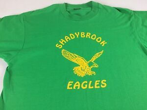 Shady-Brook-Eagles-T-Shirt-VTG-Adult-XL-Green-Yellow-School-USA-Made-Fruit-Loom