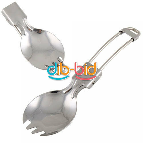 Camping Hiking Cook Picnic Foldable Spoon Traveller Spork Stainless Fork SSUS