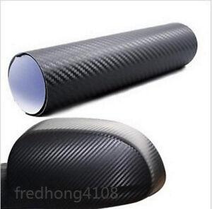 "12""x50"" 30cmx127cm 3D texture CARBON Fiber Vinyl Self Adhesive Car Sticker Black"