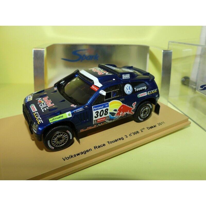 VW RACE TOUAREG 3 N 308 RALLYE PARIS DAKAR 2011 DE VILLIERS SPARK S0824 1:43 2èm