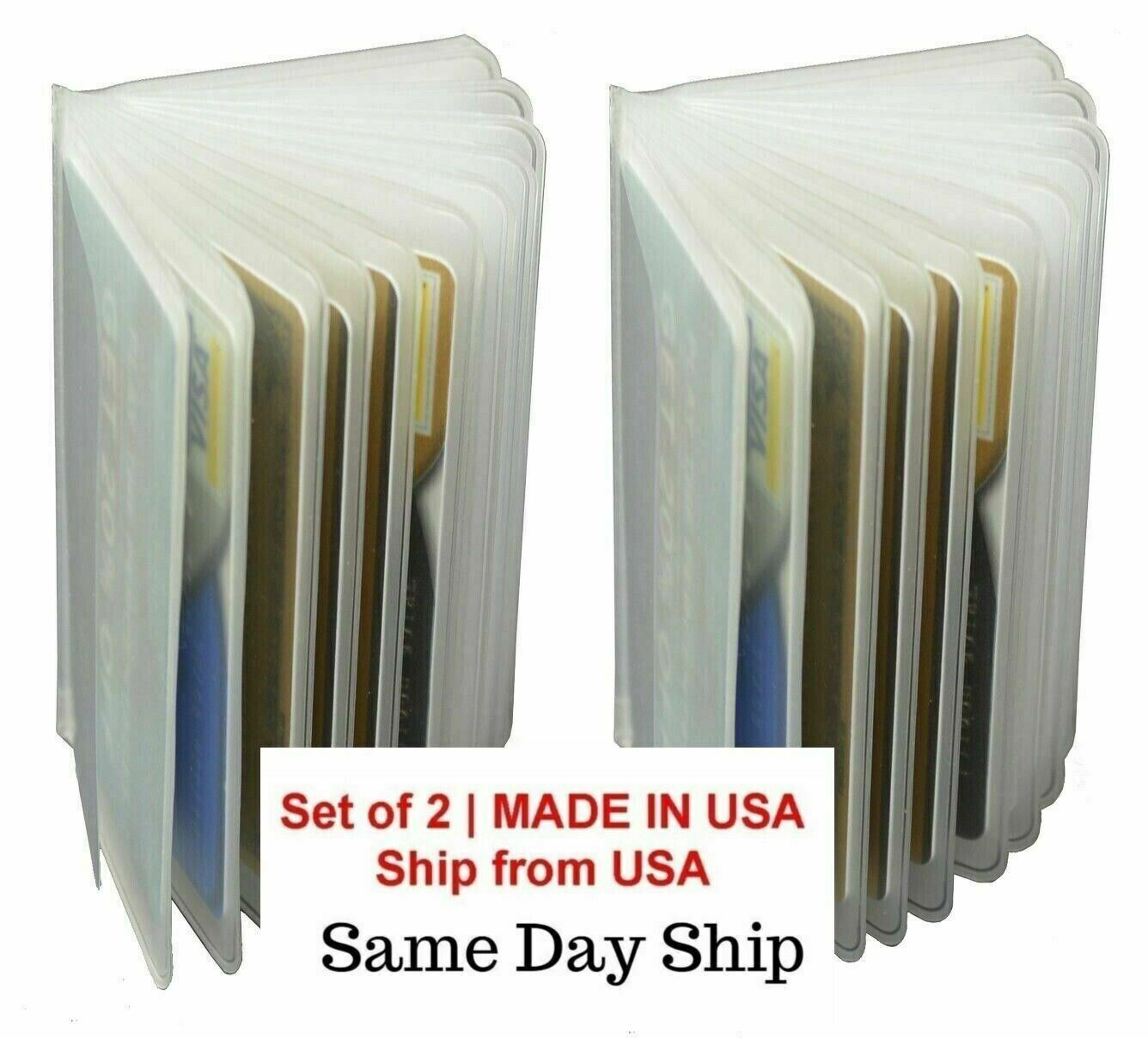 2 Plastic Wallet Insert Replacement Picture Card Holder Trifold 12Pg MADE IN USA