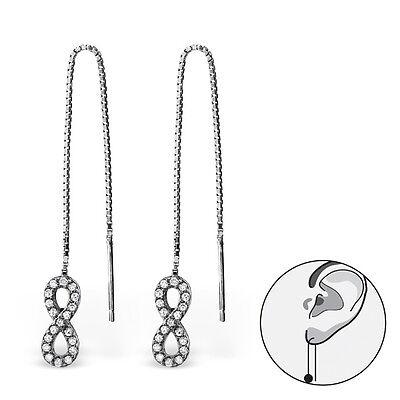 Sterling Silver Threads Threaders Earrings Infinity Eternity Knot Hoops 925 RP