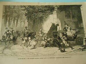 """Gravure 1867 - Une mauvaise rencontre ( les chèvres ) d'après Dieffenbach - France - Commentaires du vendeur : """"Faire un Zoom sur la photo pour mieux voir l'état"""" - France"""