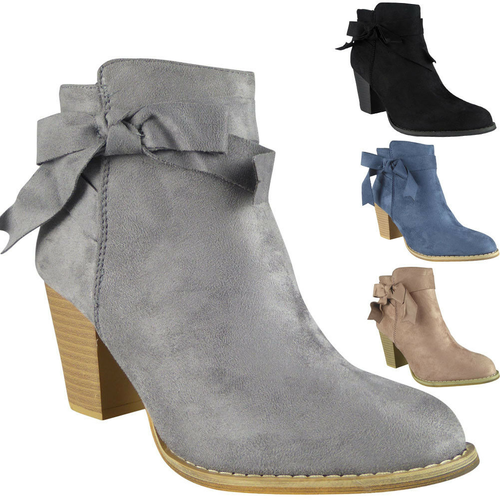 New Womens Ladies Faux Suede Zip Low Cuban Heel Work Ankle Bow Boots Shoes Size
